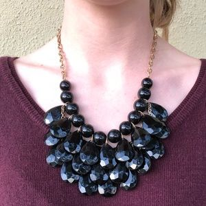Jewelry - Black Layered Beaded Statement Necklace
